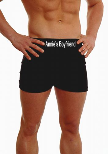PERSONALISED MENS HIPSTER BOXER SHORTS - EMBROIDERED - MY BOYFRIEND - ON THE WAISTBAND